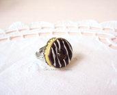 *IN OFFERTA* Anello con ciambella al cioccolato - in fimo - su base in filigrana