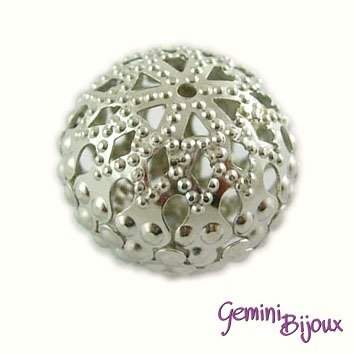 Lotto 5 pz. perle filigranate mm20