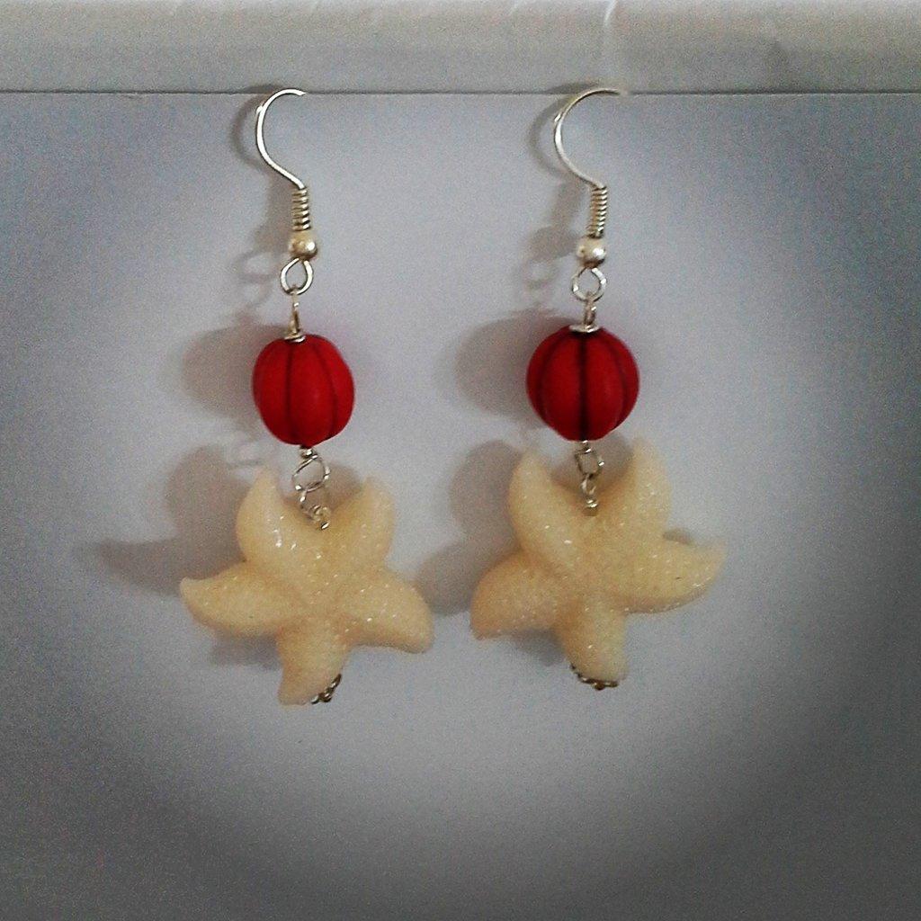 """orecchini pendenti """"stella marina"""" bianca"""