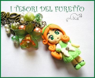 """Collana """"Fufudoll Verde/arancio: Giorgia"""" bambolina doll dollina fimo cernit kawaii idea regalo bambina"""