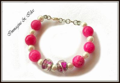 """Bracciale """"Tiffany""""  con perle fucsia e color avorio"""