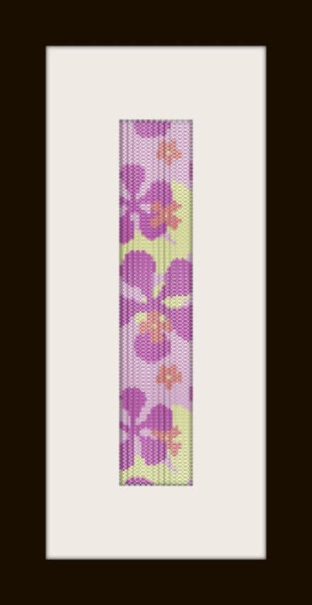 schema bracciale fiori rosa in stitch peyote pattern - solo per uso personale