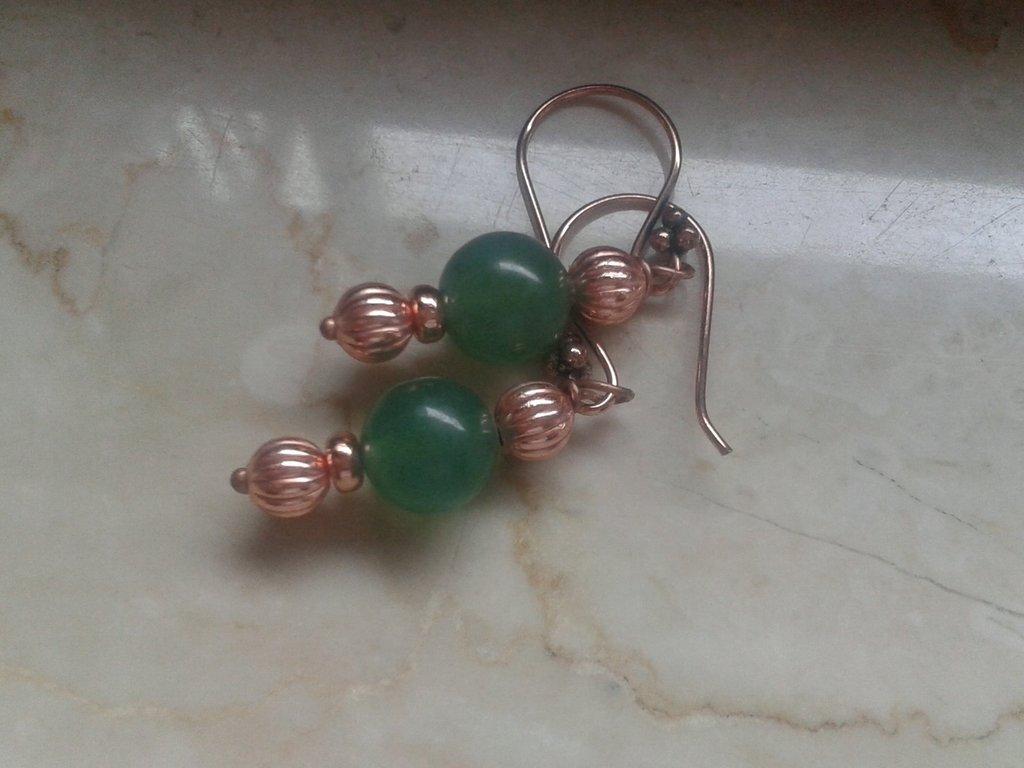 orecchini perla avventurina e perla in rame