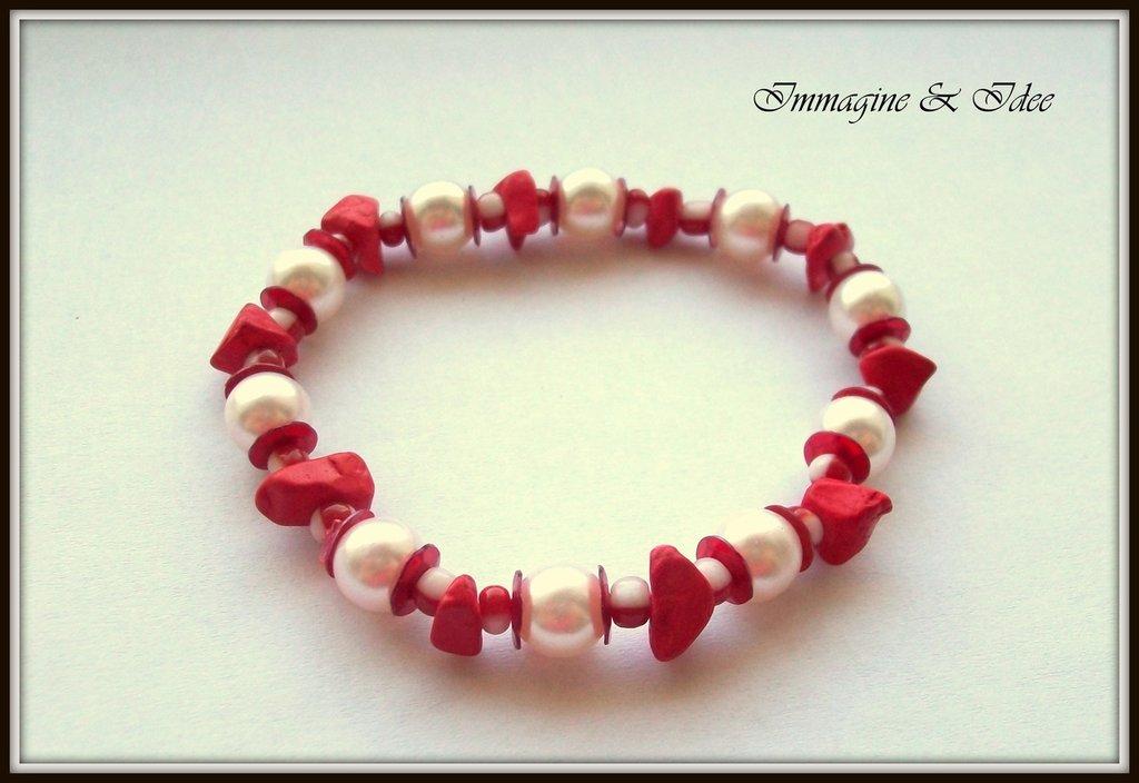 """Bracciale elastico """"Red"""" con perle, paillettes e chips"""