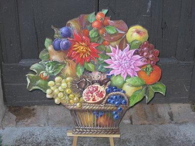 cesto fiori e frutta