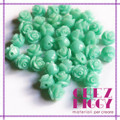 Coppia di perline a forma di rosa - Turchese