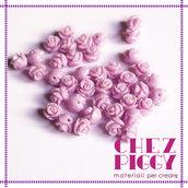 Coppia di perline a forma di rosa - VIOLA