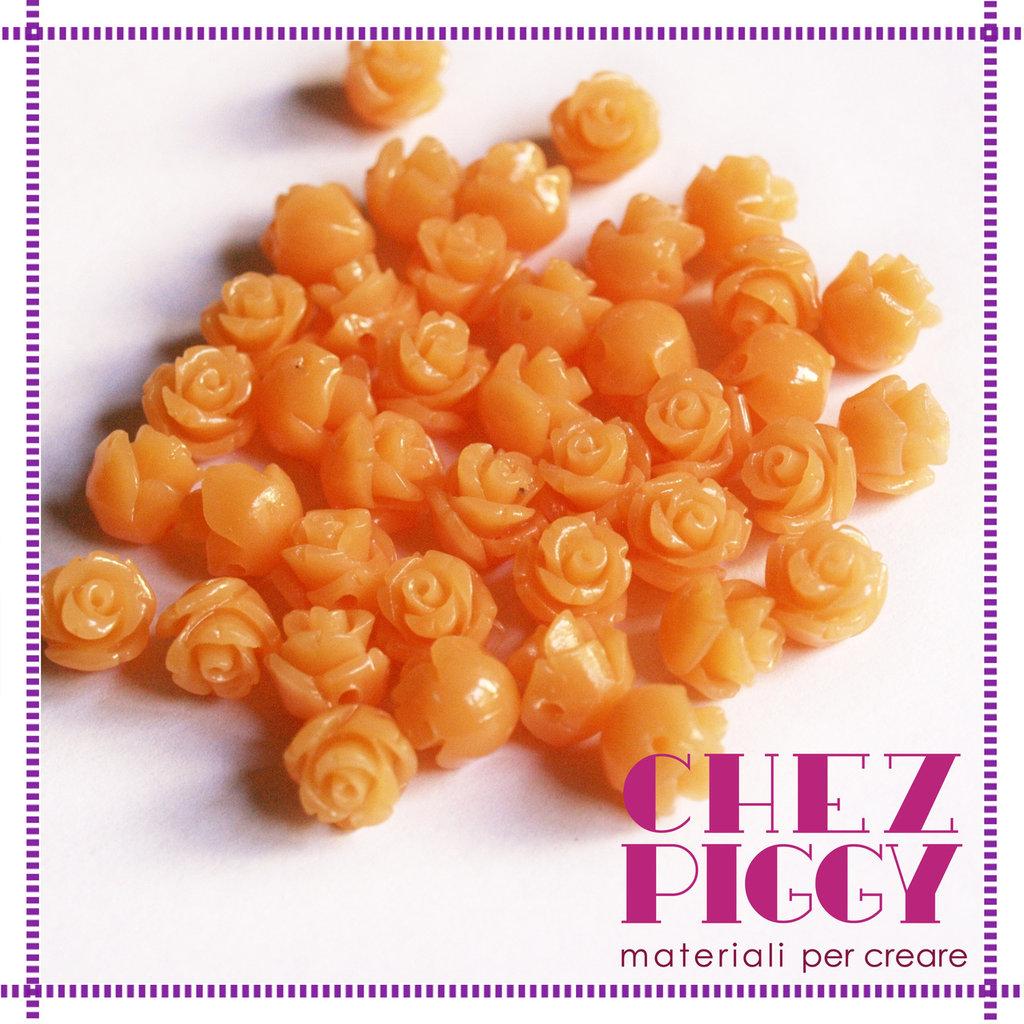 Coppia di perline a forma di rosa - ARANCIO