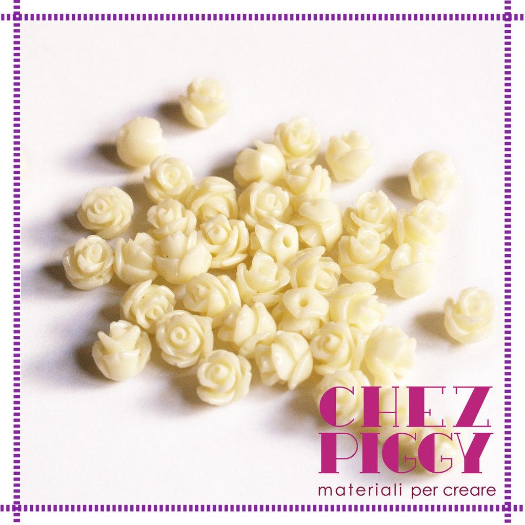 Coppia di perline a forma di rosa - AVORIO