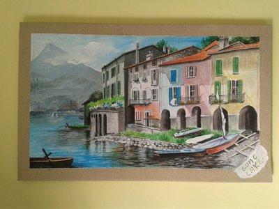 Dipinto con paesaggio del lago. Le case riflesse nell'acqua