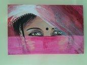 Dipinto con volto di donna. Gli sguardi velati dell' India