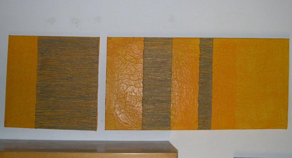 Coppia di quadri materici moderni e minimalisti . Il colore in rilievo