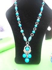 collana lunga in alluminio e sfere color turchese fatta a mano