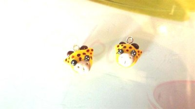 UN CHARMS a scelta  - fimo - mini  testa GIRAFFA - per orecchini, braccialetti, idea regalo, compleanno