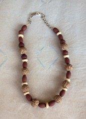 Collana stile etnico con perle animalier in fimo