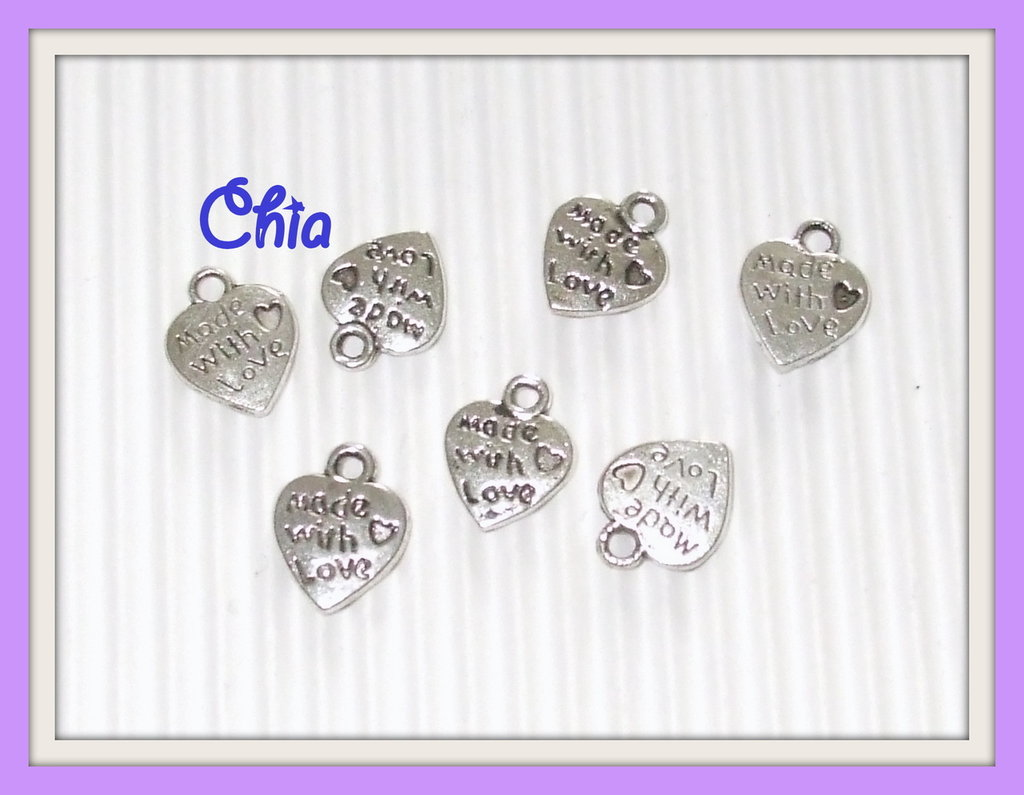"""OFFERTA 50 charms cuoricino """"made with love"""""""