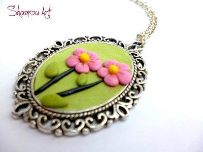 Collana cameo fimo fatto a mano, verde fiori rosa