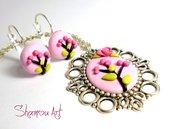 Parure in Fimo fatta a mano, cameo e orecchini rosa con disegno unico