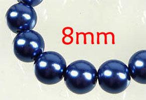 Lotto 20 perle vetro cerato BLU 8mm