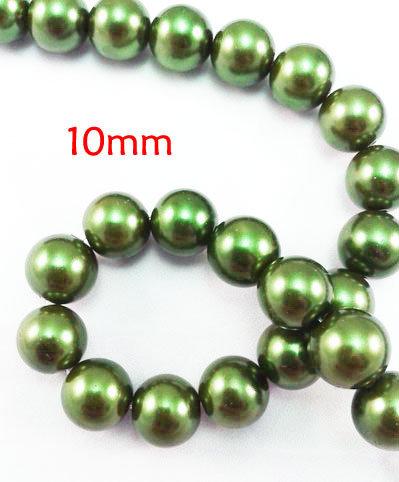 Lotto 20 perle vetro cerato VERDE 10mm