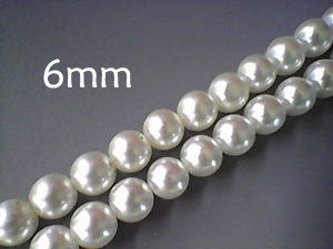 Lotto 10 perle vetro cerato BIANCO PERLATO 6mm