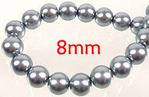 Lotto 10 perle vetro cerato ARGENTO 8mm