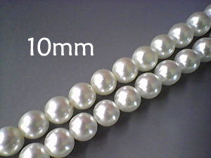 Lotto 15 perle vetro cerato BIANCO PERLATO 10mm