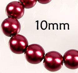 Lotto 20 perle vetro cerato ROSSO BORDEAUX 10mm