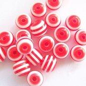 Perla vetro rigata rosso e bianco