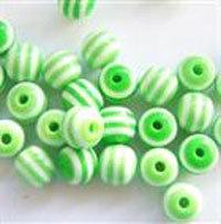 Perla vetro rigata verde e bianco