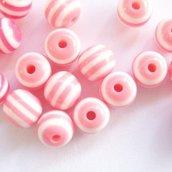 Perla vetro rigata rosa e bianco