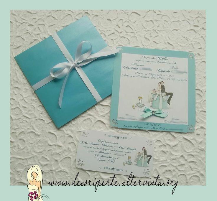 Partecipazioni Matrimonio Azzurro Tiffany : Partecipazioni matrimonio quot tiffany feste