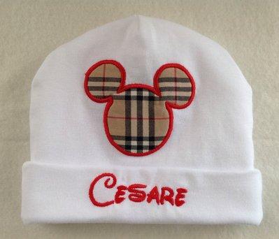 Cappello personalizzato con nome per bimbo 0-3 mesi -  mod.Cesare