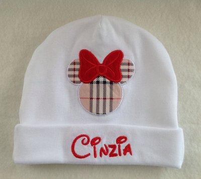 Cappello personalizzato con nome per bimba 0-3 mesi - Mod. Cinzia