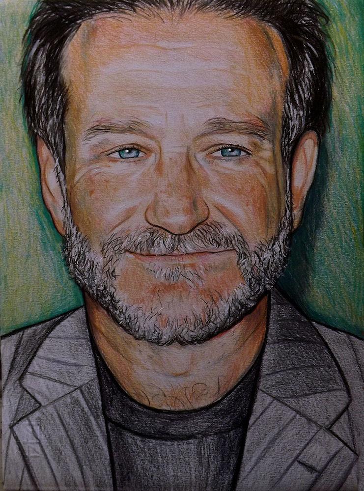Robin Williams  ritratto pastelli su cartoncino disegnato a mano