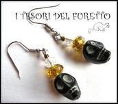 """orecchini """"Halloween teschi neri"""" skull idea regalo bijoux  neri"""