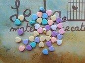 20 Perle a cuore colori pastello