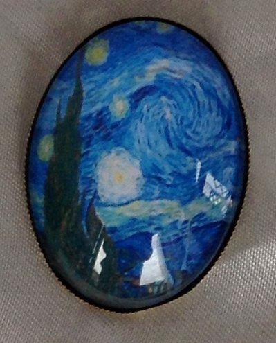 Spilla Cammeo in Vetro Notte Stellata Van Gogh
