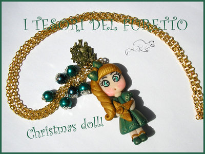 "Collana ""Fufudoll Natalizia serie Gold "" Mod .Verdiana  idea regalo Natale bambina bimba  fimo cernit kawaii moda perle catena"