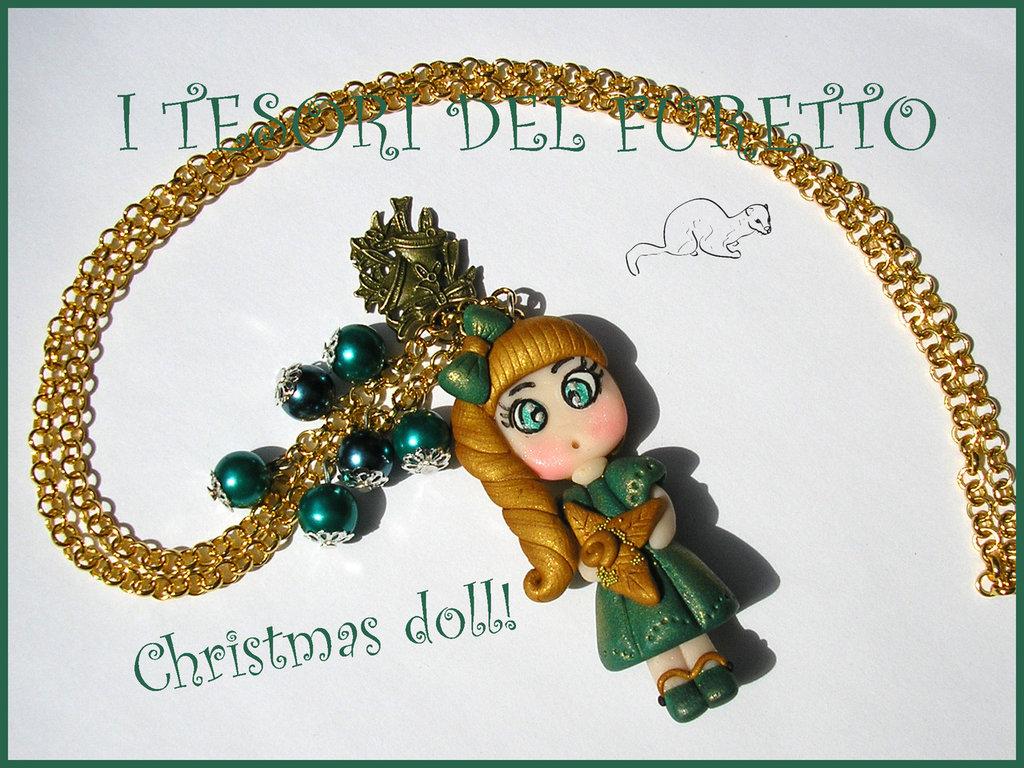 Collana Fufudoll Natalizia serie Gold Mod .Verdiana idea regalo Natale bambina bimba fimo cernit kawaii moda perle catena