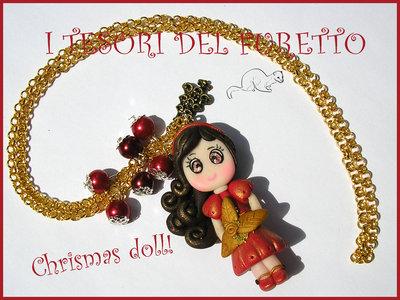 "Collana ""Fufudoll Natalizia serie Gold "" Mod Rossella. idea regalo bambina bimba  fimo cernit kawaii moda perle catena"