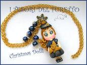 """Collana """"Fufudoll Natalizia serie Gold """" Mod. Marina idea regalo Natale blu bambina bimba  fimo cernit kawaii moda perle catena"""