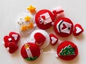 Set di decorazioni per l'albero di Natale in feltro rosso e bianco: addobbi fatti a mano!