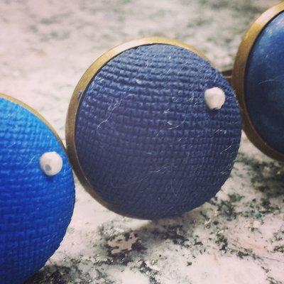 Anello in fimo  Blue Navy Texture Collection fatto a mano