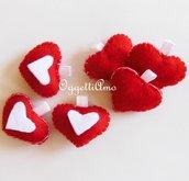 Set di cuori di feltro: addobbi per l'albero di Natale in pannolenci per decorazioni fatte con Amore