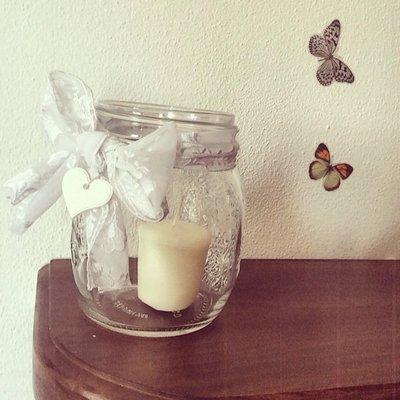 Lanterna in vetro e pizzo per matrimonio Eco Chic Con cuori,farfalle conchiglie e fantasia!