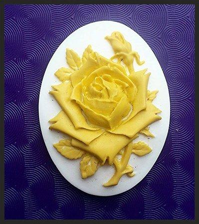 Cammeo in resina 30x40 Rosa gialla
