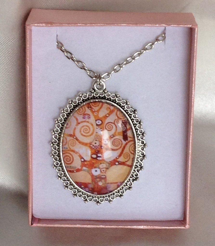 Collana L'Albero della Vita, Cammeo in Vetro, Klimt