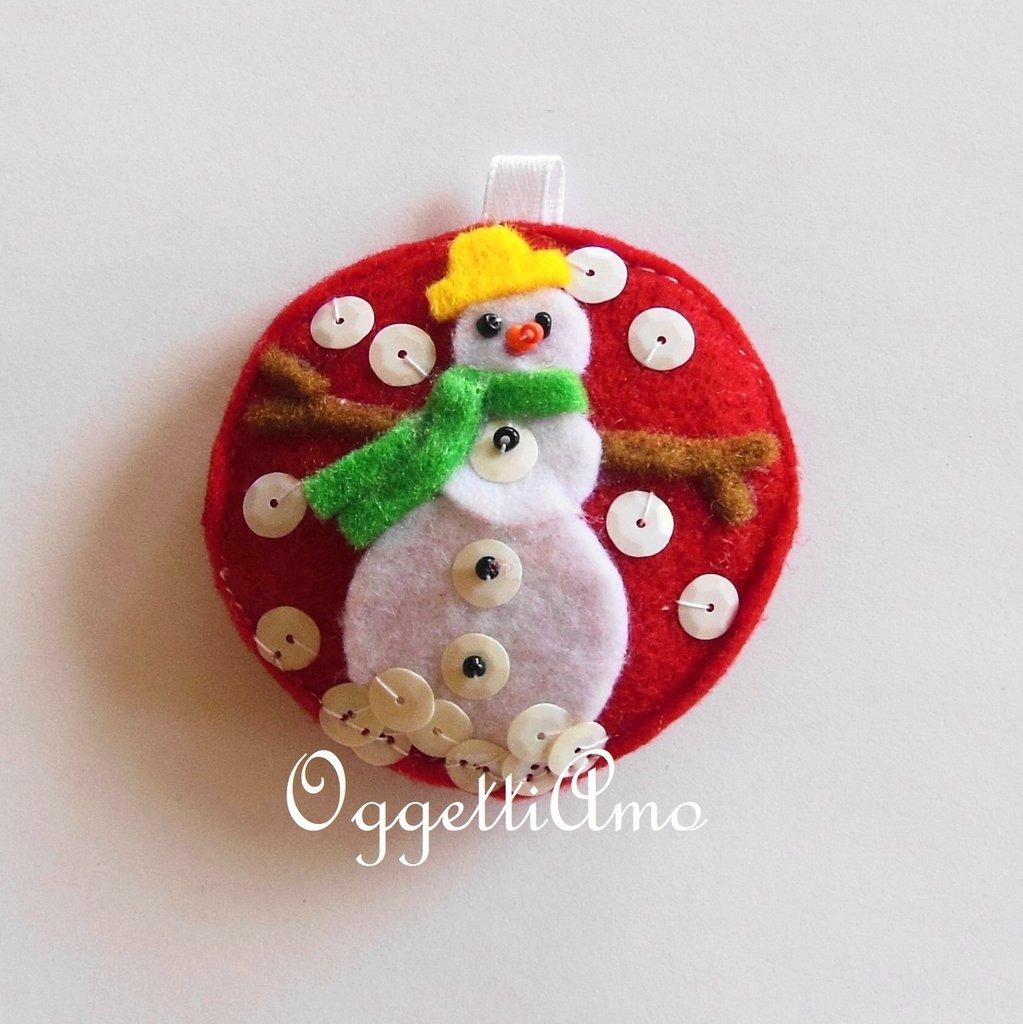 Addobbo PUPAZZO DI NEVE, la decorazione in feltro per l'albero di Natale regalabile come portachiavi!