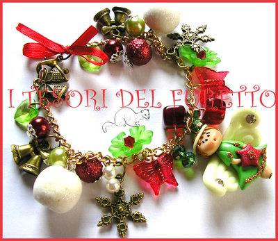 "Bracciale ""Fufufangel Natale! Angelo angioletto fimo cernit rosso verde"